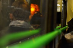 kettes villamos (ffruzsi.) Tags: budapest buda pest night tram line two danube hungary nikon d5100 urban street photo photography reflection green black orange outdoor evening dark winter girl hat coat cold