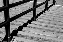 Stairs (Thad Zajdowicz) Tags: blackandwhite black white bw monochrome stairs lines angles shapes parallels abstract fineart zajdowicz santamonica california canon eos 5d3 dslr digital lightroom availablelight outside outdoor down diagonal pattern ef24105mmf4lisusm