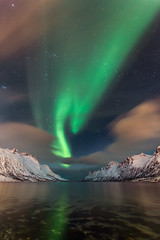 Ersfjordbotn - Norway (Mr F1) Tags: aurora borealis johnfanning ersfjordbotn norway light spectacle mountains moonlight green detail snow ice reflection clean nature wilderness moonlit