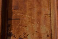 PANAMA RED (82) (TheGraffitiHunters) Tags: graffiti graff street art markal streak moniker freight train tracks benching benched boxcar panama red 1982 82 rust