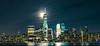 Freedom Tower (Sid's Corner) Tags: yellow skyscrapers skyline freedomtower nyc new york newyork newyorkcity panorama cityscape city usa nikon nikond800 wtc waterfront schoksi schoksiphotography ngc worldtradecenter nj newjersey 911 nightphotography reflection exchangeplace streetphotography nightscape fullmoon moon moonrise moonlight gotham
