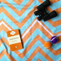 Sparks (orange + blue) beach towel (The Wallpaper Files) Tags: beach towel sparks orange blue zigzag summer reading casinoroyal balls binoculars spy pattern