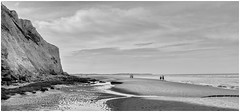 """""""Walking on the beaches, looking at ..."""" (Eric@focus) Tags: beach tide people walking shore thestranglers peaches opalcoast noiretblanc neroamet flickrsbest"""