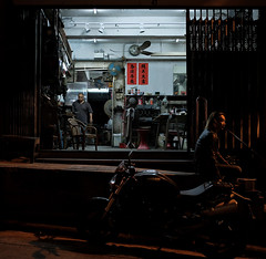 """kinds of night life"" (hugo poon - one day in my life) Tags: xt2 23mmf2 hongkong peelstreet citynight longnight vanishing solitude motorcycle dark"