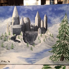 Hog warts (Hurricane Wayne) Tags: weasley harry potter harrypotter slytherin snake drift snow water evergreen pine cupola come paint brown green yellow white buildings river ice ive winter cold canvas acrylic painting alpine tree castle magic school hogwarts