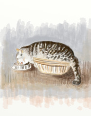 Gris-Gris, la goulue (Isaszas) Tags: digitalpainting digitalart clipart cat chat drawing dessin croquis animal isasza