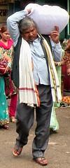 Heavy burden (bokage) Tags: india uttarpradesh varanasi benares pilgrim street ghat ganges ganga ceremony hindu hinduism