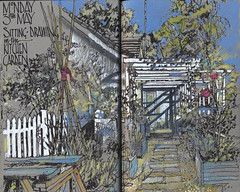 in our kitchen garden (patsouthern-pearce/Skyeshell) Tags: blackburn garden pergola sunlight shadows wigwam raised beds path kitchengarden sketch pleinair colouredpencil lancashire strathmore grey sketchbook skyeshell