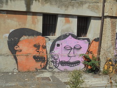 251 (en-ri) Tags: wall muro graffiti writing giallo nero rosa arancione facce visi faces volti modena