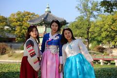 3 Koreans in a beautiful traditional Hanbok at Gyeongbokgung Palace grounds (Cheguevara327) Tags: history court traditional royal palace korea korean seoul hanbok cultural gyeongbokgung norigae meori binyeo eoyeo cheopji dwikkoji