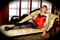 DSC06553 (msdaphnethos) Tags: red transgender blonde heels slip satin victoriasecret pantyhose crossdresser nylons daphnethomas