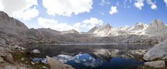 Sky Blue Lake (Melissa Emmons Photography) Tags: panorama lake mountains reflection nature clouds canon landscape waterfall rocks photographer stormy backpacking canon5d lanscape sierranevadas easternsierras natgeo neverstopexploring miterbasin skybluelake