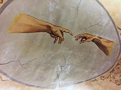 Creation myth (sixthland) Tags: cameraphone italy adam painting hands mural ceiling creation cracks sorrento michelangelo fresco iphone6