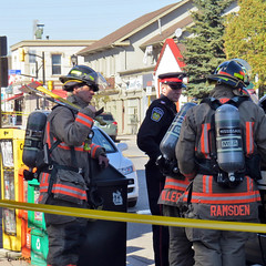 Evacuation in Streetsville. (Gillian Floyd Photography) Tags: fire evacuation gas firemen fighters streetsville