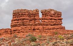 Monolith Top Falling - Arches NP (JohnColeUSA) Tags: rock utah ut sandstone rocks moab archesnationalpark monolith americanwest southwestusa rockformation geographicallandform rockdeterioration