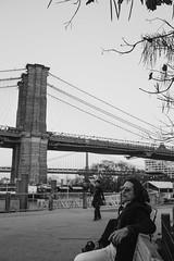 People Watching (apinedaphotography) Tags: park street nyc newyorkcity bridge people blackandwhite bw newyork brooklyn digital photography alien watching fujifilm exposure6 x100s fujifilmx100s