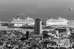 Cruise liners City (Eliseo Oliveras) Tags: barcelona street city travel cruise sea people urban blackandwhite bw espaa white black blanco water architecture port puerto harbor spain arquitectura noir barco ship waterfront harbour negro tourist catalonia bn catalunya espagne blanc negre catalua viajar buque turista crucero cruiseliner espanya catalogne navo eliseooliveras eliseooliveras