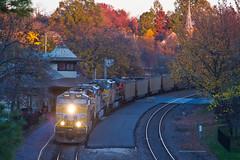 Coal Empties in the Twilight (tim_1522) Tags: city railroad up pacific sub rail historic mo missouri kirkwood depot unionpacific jefferson coal mopac generalelectric subdivision railfanning ac44cw ac44cwcte