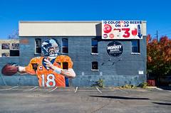Platte St. Denver, Colorado (seanmugs) Tags: streetart football colorado denver highland denvercolorado denverbroncos peytonmanning themonkeybarrel