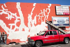 Paint prep fractals (ADMurr) Tags: la western gas station leica m digital orange white blue lens 50mm zeiss zm planar
