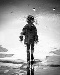 rainy day (soul pixie) Tags: girl rain puddle wet water reflection rainboots childhood blackandwhite canon6d kearstenlederphotography