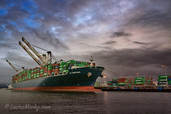 Lt Cortesia (Laura Macky) Tags: portofoakland ship clouds sky landscape bayarea oakland containers