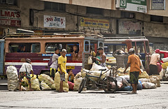 Where to start (Beegee49) Tags: jeepney street people loading produce sacks bacolod city philippines