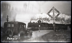 Danger - Cleveland, Ohio 1929 (jblorx) Tags: cleveland ohio vintage paul metz ansco 3a film camera 1920s train crossing locomotive steam warning danger car automobile historical