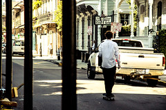 French Quarter Rush Hour (TheWildFireOne) Tags: skater skateboard work casual man new orleans french quarter commute commuter dinner jacket road street royal 500px