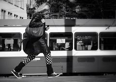 to the point (Thomas8047) Tags: street zurich zrich schweiz switzerland bw nikon streetart monochrome thomas8047 people frau punkte streetphotography onthestreets blackandwithe streetpix iamnikon hofmanntmecom zrigrafien tram 2016 d300s strassenfotografie urban snapseed candid city streetscene flickr schwarzundweiss blancoynegro stadtansichten photography passant herbst autumn 175528 zri vbz zrilinie strasse streetartstreetlife mode fashion streetfashion ch
