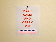 314/366 Keep Calm and Carry On (Helen Orozco) Tags: 2016366 keepcalmandcarryon poster motivational postelection stiffupperlip galaxys6 cliche stunned trump gloom topical news chocolate