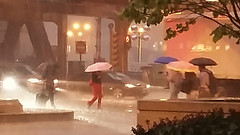 Travelers (michael.veltman) Tags: watercolor rain umbrella umbrellas l tracks wacker drive chicago illinois