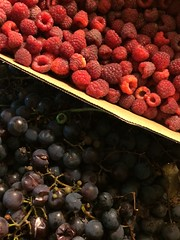 last autumn harvest... (Lady Goshen) Tags: raspberry grapes autumn harvest purple red