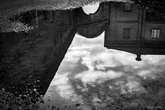 House  reflection in the water (joe petruz) Tags: water reflection art petruz bnw black white bw old style noir architecture canon eos 650d piemonte stupinigi italy retro vintage architect minimal surreal real house cloud sky