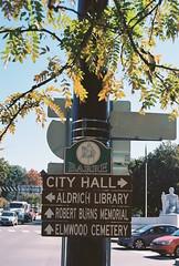 Barre Street Signs (Nsharp17) Tags: nikon nikonfe film 35mm kodak ektar ektar100 barre vermont signs sign streetsign