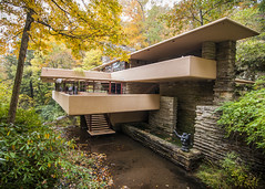 A Cabin in the Woods (trainmann1) Tags: nikon d90 tokina 1116mm amateur handheld fallingwater franklloydwright fallingwaterhouse house retreat nature architecture design october 2016 stunning beautiful gappa pa pennsylvania westernpennsylvaniaconservancy 1939 fall autumn leaves trees exterior building home getaway woods forrest millroad flw water river stream creek waterfall stairs glass windows concrete stone custom yellow green millrun millrunpa