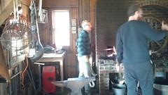 At the forge (Ken_Mayer) Tags: uploadedwithflync blacksmith forge kinderfarm maryland anvil hammer poker