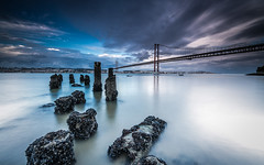 Lost structure (marcolemos71) Tags: seascape water oldpier structures bridge sky clouds evening tagusriver longexposure lisbon pragal almada portugal