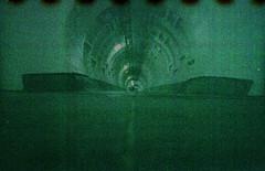 Greenwich Foot Tunnel (pho-Tony) Tags: lomolcw xpro fujivelvia lomography lomolcwide lcwide blend 35mm 17mm fullframe minigon 1 ultrawideangle lens minigon17mm superwide ultrawide lcw compact c41 135 film analogue ishootfilm filmisnotdead rollei digibase cross process crossprocessing lomo slide e6 color cast colour hue shift colorcast colourcast fuji velvia iso 50 fujichrome