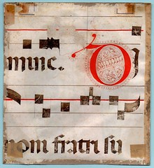 GRADUAL FRAGMENT WITH HISTORIATED INITIAL Ref 459 Recto (RMGYMss.) Tags: medieval manuscript fragment cutting illuminated medievalmanuscript illuminatedmanuscript manuscriptcutting manuscriptfragment initialm italy italian choirbook gradual saintandrew historiatedinitial