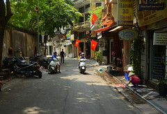 Three Flags on Hotel Street (Neil Noland) Tags: vietnam hanoi oldquarter