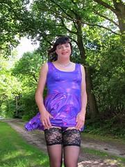 Stockings (Paula Satijn) Tags: sexy hot girl gurl dress skirt minidress miniskirt purple shiny metallic stockings tgirl transvestite forest outside free smile path legs summer stockingtops lace spandex