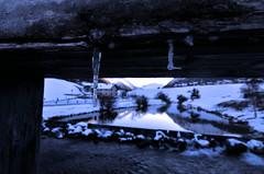 Cold on the river (Stievesox) Tags: ice icing bridge wood legno cold landscape livigno lombardia lombardy italy italia paesaggio ghiaccio freddo sunset tramonto light shadow frame cornice pov tibet little snow neve river fiume aquagranda acqua water reflection riflessi colors filter filtro gelo