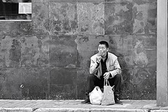 Old Shanghai (Robert Borden) Tags: world asia china shanghai oldshanghai street man smoke portrait bw monochrome blackwhite people outside travel