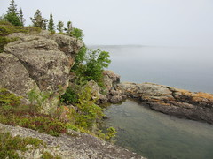 fog over Rock Harbor - Isle Royale national park (Prairie Star) Tags: trees water fog nationalpark midwest hiking michigan hike nationalparks rockharbor isleroyalenationalpark keweenawcounty