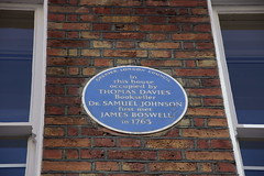 Plaque on the home of Thomas Davies, Bookseller, Covent Garden (Bolckow) Tags: london coventgarden boswell drjohnson samueljohnson jamesboswell thomasdavies