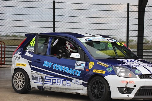 Aaron Thompson after Race 2 at the BRSCC Fiesta Junior Championship, Rockingham, Sept 2015