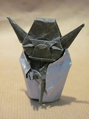 Jedi Master Yoda (Helyades) Tags: fiction film paper movie star origami force yoda character tissue jedi wars fold papier soie pli personage pliage kawahata