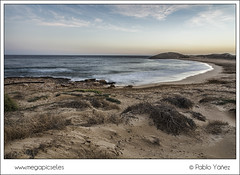 Calblanque II (P. Yez) Tags: travel blue sunset espaa seascape beach atardecer spain sand europa europe playa arena murcia calblanque