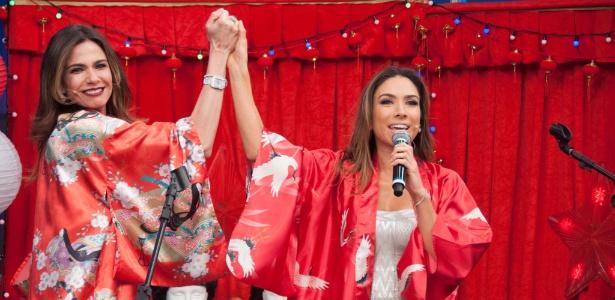 Luciana Gimenez canta com Patrícia Abravanel em seu talk show na RedeTV!